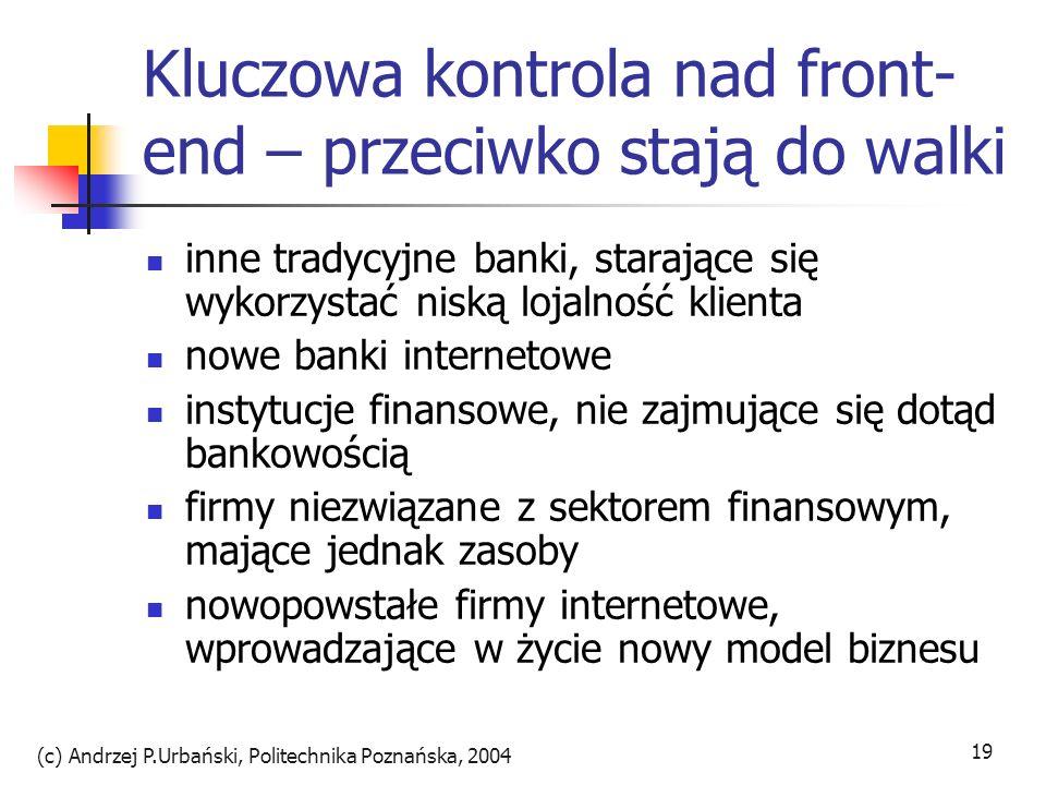 (c) Andrzej P.Urbański, Politechnika Poznańska, 2004 19 Kluczowa kontrola nad front- end – przeciwko stają do walki inne tradycyjne banki, starające s
