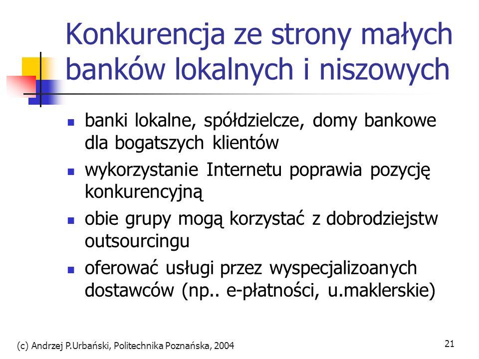 (c) Andrzej P.Urbański, Politechnika Poznańska, 2004 21 Konkurencja ze strony małych banków lokalnych i niszowych banki lokalne, spółdzielcze, domy ba
