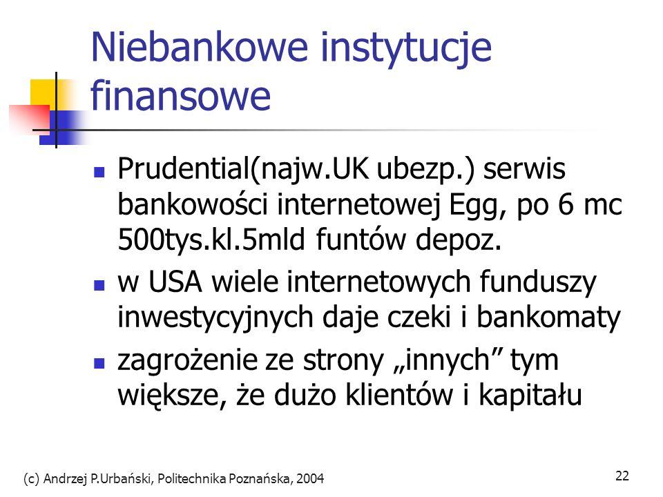 (c) Andrzej P.Urbański, Politechnika Poznańska, 2004 22 Niebankowe instytucje finansowe Prudential(najw.UK ubezp.) serwis bankowości internetowej Egg,