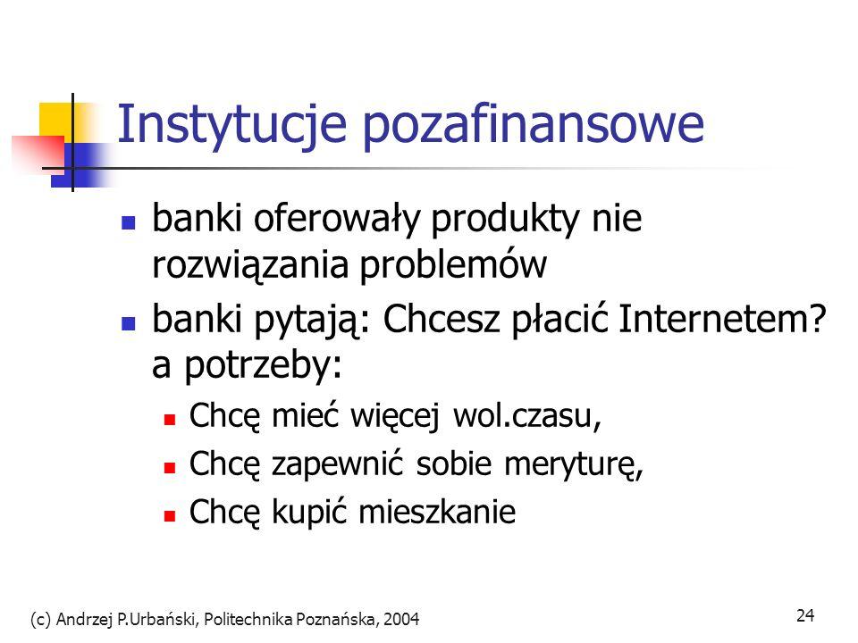 (c) Andrzej P.Urbański, Politechnika Poznańska, 2004 24 Instytucje pozafinansowe banki oferowały produkty nie rozwiązania problemów banki pytają: Chce