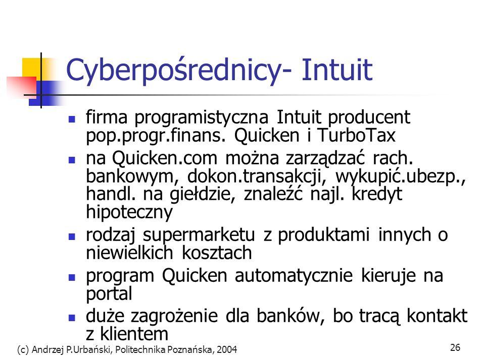 (c) Andrzej P.Urbański, Politechnika Poznańska, 2004 26 Cyberpośrednicy- Intuit firma programistyczna Intuit producent pop.progr.finans. Quicken i Tur