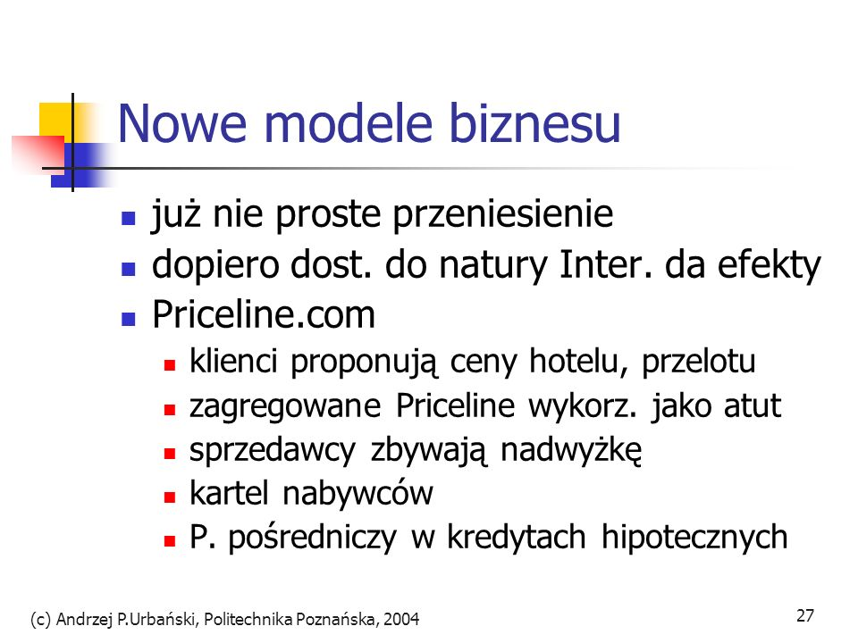 (c) Andrzej P.Urbański, Politechnika Poznańska, 2004 27 Nowe modele biznesu już nie proste przeniesienie dopiero dost. do natury Inter. da efekty Pric