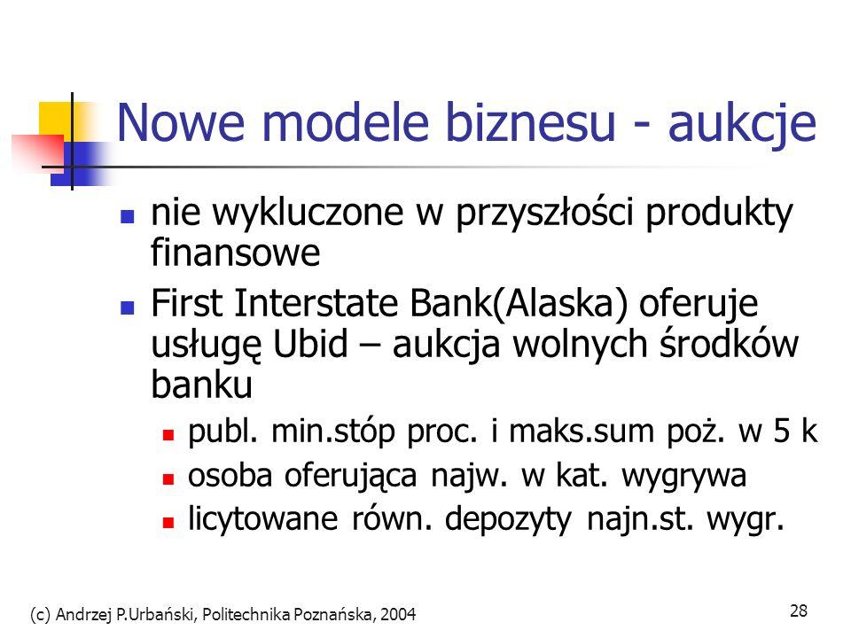 (c) Andrzej P.Urbański, Politechnika Poznańska, 2004 28 Nowe modele biznesu - aukcje nie wykluczone w przyszłości produkty finansowe First Interstate