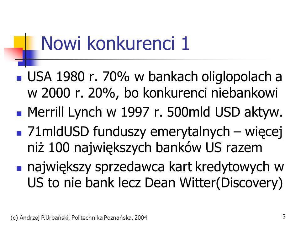 (c) Andrzej P.Urbański, Politechnika Poznańska, 2004 3 Nowi konkurenci 1 USA 1980 r. 70% w bankach oliglopolach a w 2000 r. 20%, bo konkurenci niebank