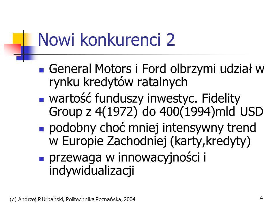 (c) Andrzej P.Urbański, Politechnika Poznańska, 2004 4 Nowi konkurenci 2 General Motors i Ford olbrzymi udział w rynku kredytów ratalnych wartość fund