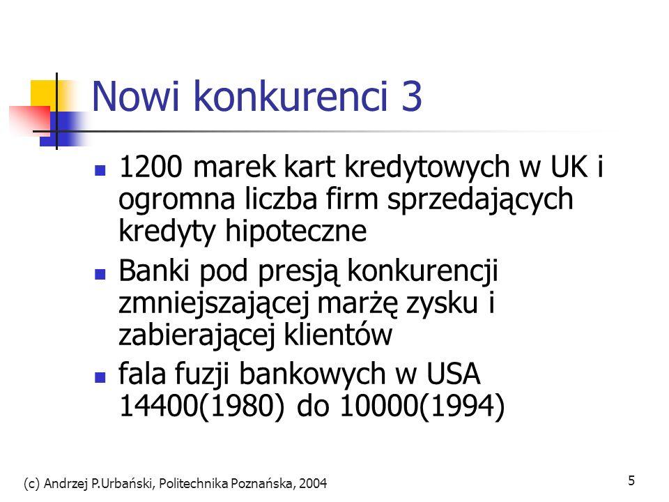 (c) Andrzej P.Urbański, Politechnika Poznańska, 2004 6 Cele konsolidacji banków uzyskanie korzyści skali i zakresu opinia o olbrzymich nakładach na najnowsze technologie obniżenie kosztów dzięki synergii przeświadczenie o przewadze dużych banków nad małymi wszechstronne konglomeraty finansowe spółki-córki np.
