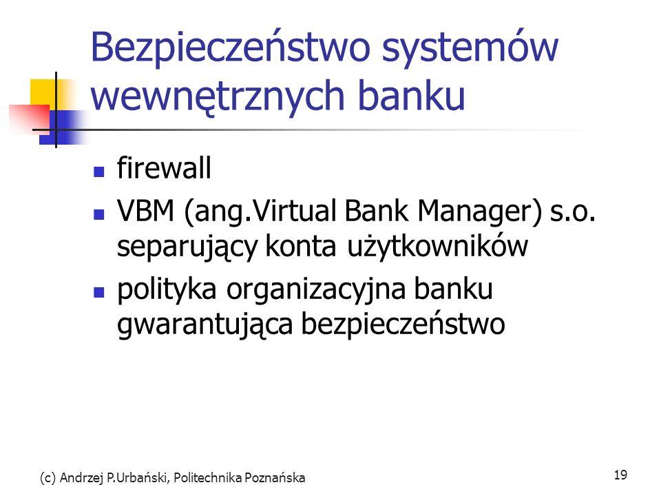 (c) Andrzej P.Urbański, Politechnika Poznańska 19 Bezpieczeństwo systemów wewnętrznych banku firewall VBM (ang.Virtual Bank Manager) s.o. separujący k