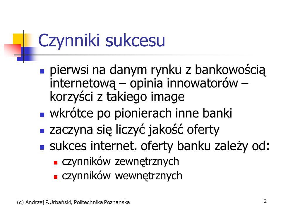 (c) Andrzej P.Urbański, Politechnika Poznańska 2 Czynniki sukcesu pierwsi na danym rynku z bankowością internetową – opinia innowatorów – korzyści z takiego image wkrótce po pionierach inne banki zaczyna się liczyć jakość oferty sukces internet.