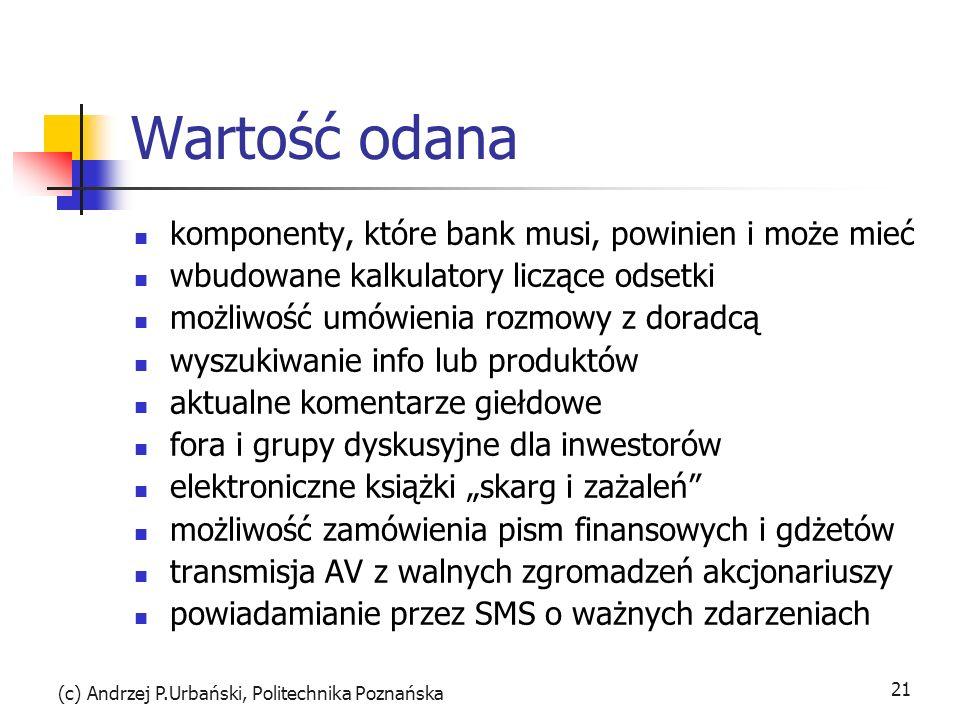 (c) Andrzej P.Urbański, Politechnika Poznańska 21 Wartość odana komponenty, które bank musi, powinien i może mieć wbudowane kalkulatory liczące odsetk