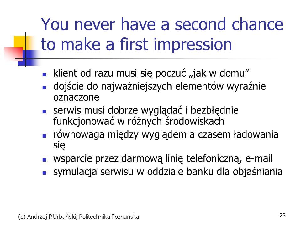 (c) Andrzej P.Urbański, Politechnika Poznańska 23 You never have a second chance to make a first impression klient od razu musi się poczuć jak w domu