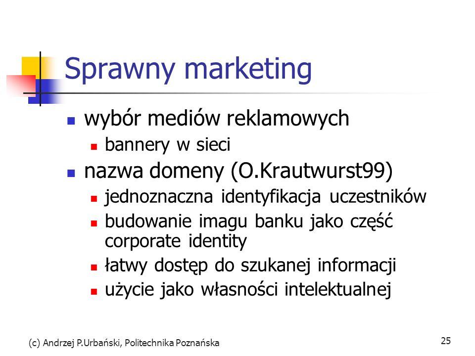 (c) Andrzej P.Urbański, Politechnika Poznańska 25 Sprawny marketing wybór mediów reklamowych bannery w sieci nazwa domeny (O.Krautwurst99) jednoznaczn