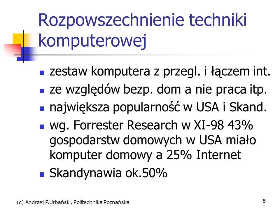 (c) Andrzej P.Urbański, Politechnika Poznańska 5 Rozpowszechnienie techniki komputerowej zestaw komputera z przegl. i łączem int. ze względów bezp. do