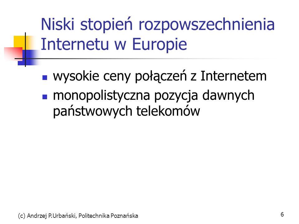 (c) Andrzej P.Urbański, Politechnika Poznańska 6 Niski stopień rozpowszechnienia Internetu w Europie wysokie ceny połączeń z Internetem monopolistyczna pozycja dawnych państwowych telekomów