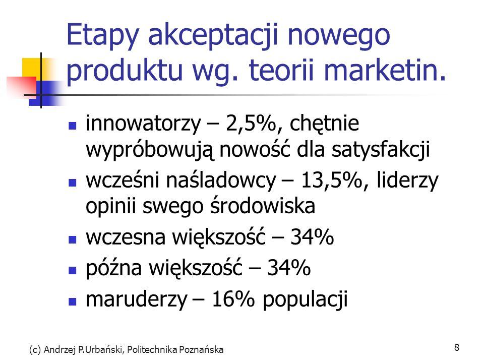 (c) Andrzej P.Urbański, Politechnika Poznańska 8 Etapy akceptacji nowego produktu wg. teorii marketin. innowatorzy – 2,5%, chętnie wypróbowują nowość