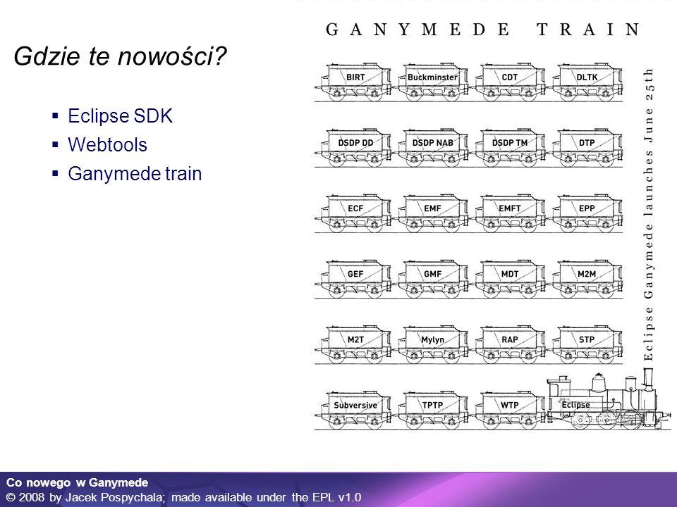 Co nowego w Ganymede © 2008 by Jacek Pospychala; made available under the EPL v1.0 Nowe projekty