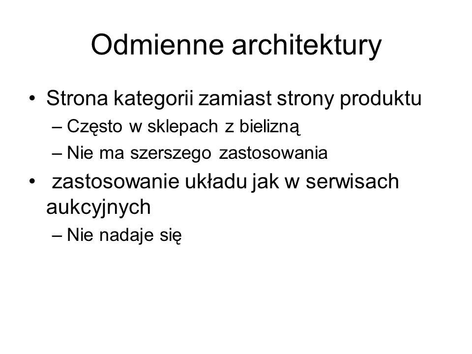 Odmienne architektury Strona kategorii zamiast strony produktu –Często w sklepach z bielizną –Nie ma szerszego zastosowania zastosowanie układu jak w serwisach aukcyjnych –Nie nadaje się