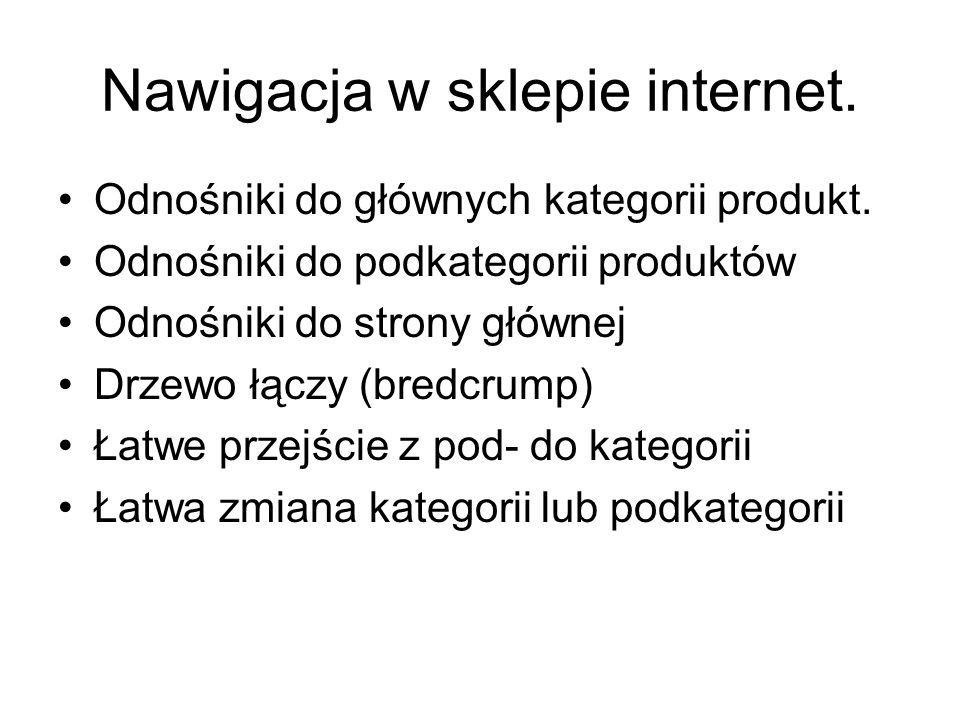 Nawigacja w sklepie internet. Odnośniki do głównych kategorii produkt.