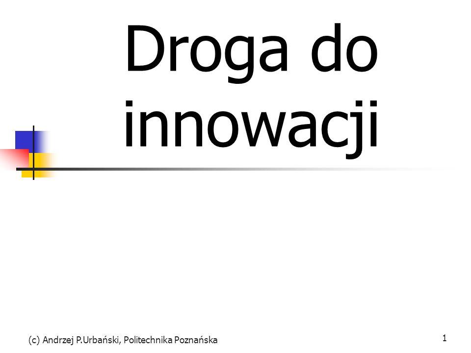 (c) Andrzej P.Urbański, Politechnika Poznańska 1 Droga do innowacji
