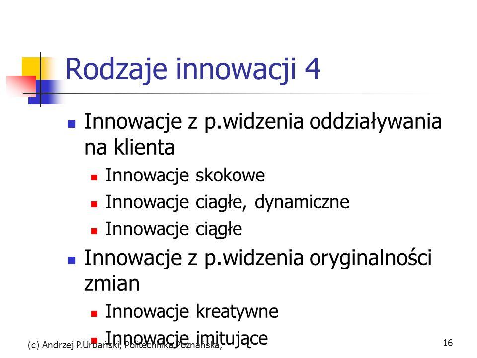 Rodzaje innowacji 4 Innowacje z p.widzenia oddziaływania na klienta Innowacje skokowe Innowacje ciagłe, dynamiczne Innowacje ciągłe Innowacje z p.widz