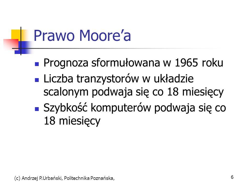 Prawo Moorea Prognoza sformułowana w 1965 roku Liczba tranzystorów w układzie scalonym podwaja się co 18 miesięcy Szybkość komputerów podwaja się co 1