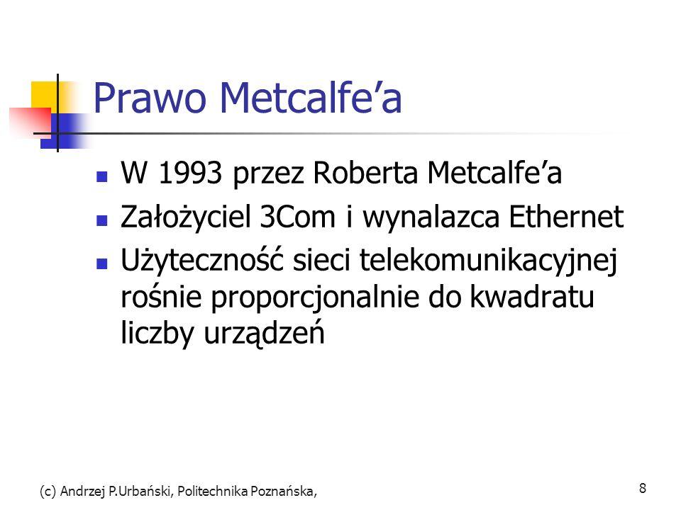 Prawo Metcalfea W 1993 przez Roberta Metcalfea Założyciel 3Com i wynalazca Ethernet Użyteczność sieci telekomunikacyjnej rośnie proporcjonalnie do kwa