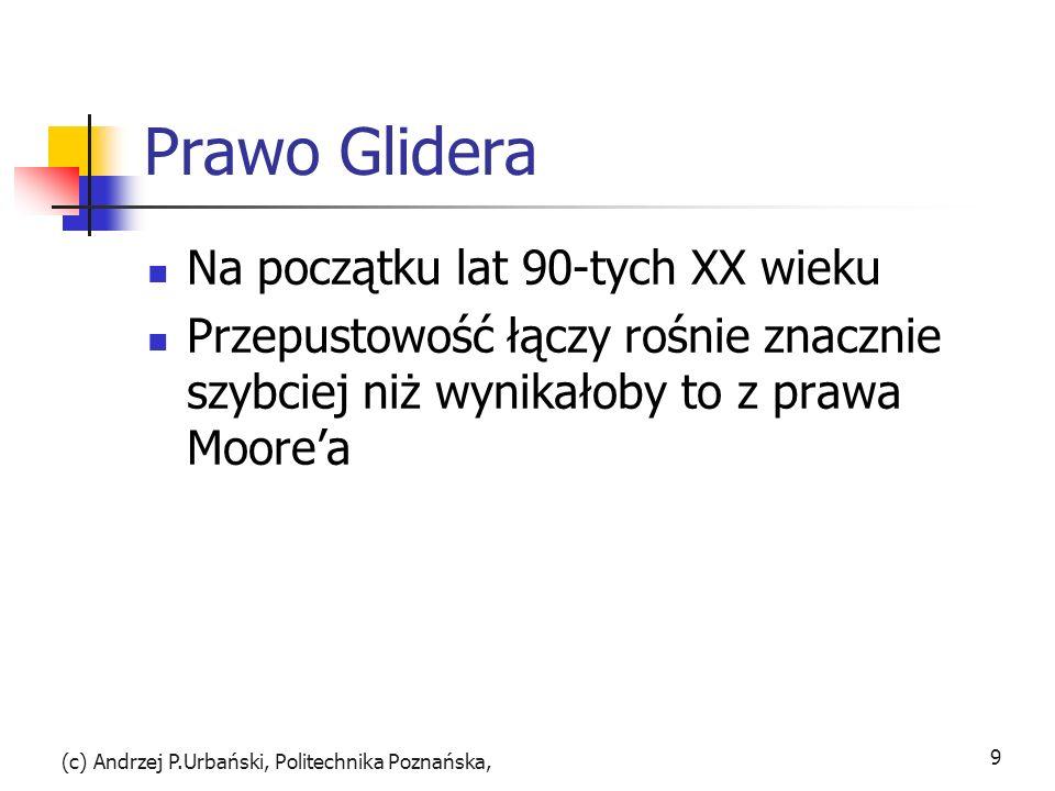 Prawo Glidera Na początku lat 90-tych XX wieku Przepustowość łączy rośnie znacznie szybciej niż wynikałoby to z prawa Moorea (c) Andrzej P.Urbański, P
