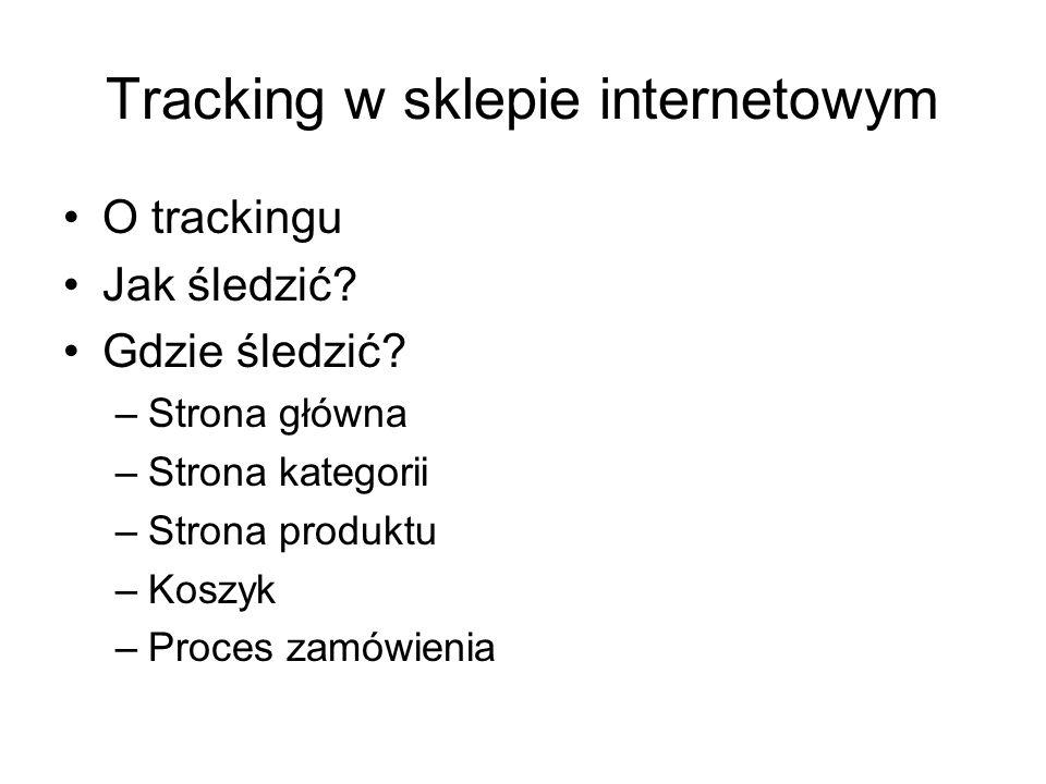 Tracking w sklepie internetowym O trackingu Jak śledzić? Gdzie śledzić? –Strona główna –Strona kategorii –Strona produktu –Koszyk –Proces zamówienia
