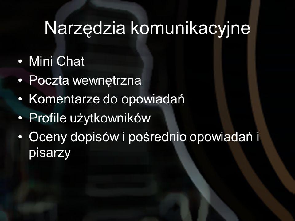 Narzędzia komunikacyjne Mini Chat Poczta wewnętrzna Komentarze do opowiadań Profile użytkowników Oceny dopisów i pośrednio opowiadań i pisarzy