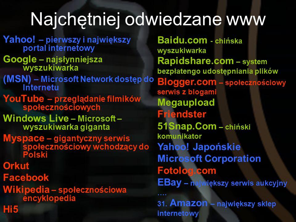 Yahoo! – pierwszy i największy portal internetowy Google – najsłynniejsza wyszukiwarka (MSN) – Microsoft Network dostęp do Internetu YouTube – przeglą