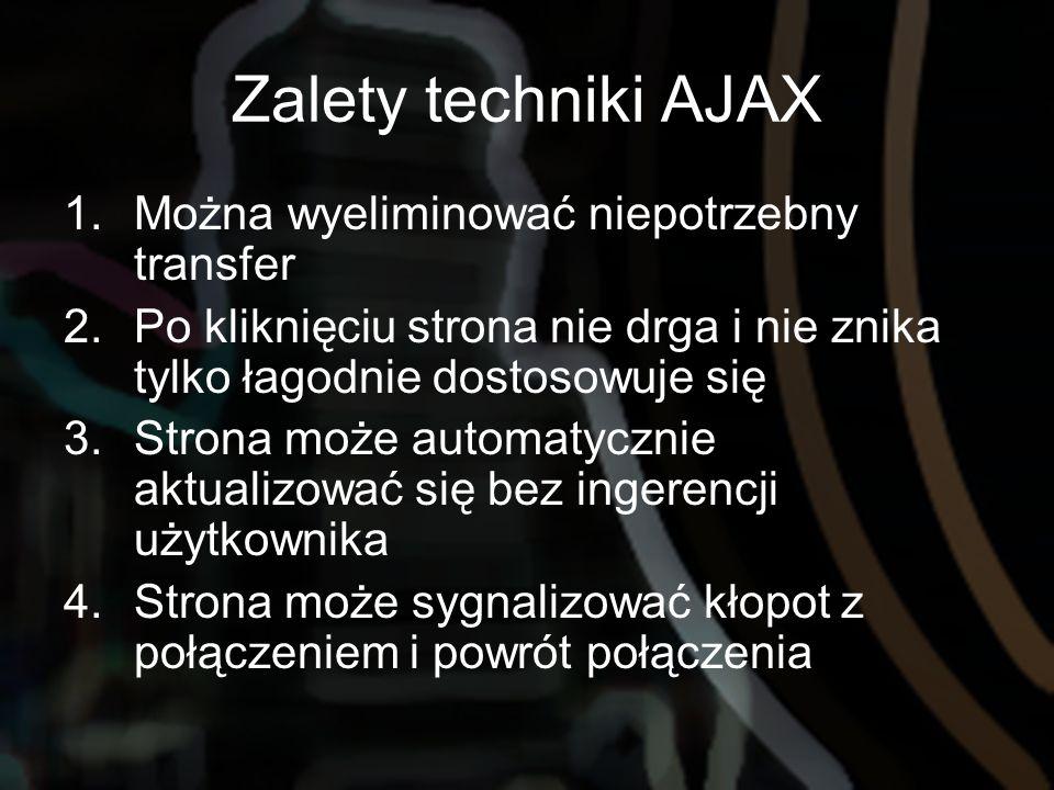 Zalety techniki AJAX 1.Można wyeliminować niepotrzebny transfer 2.Po kliknięciu strona nie drga i nie znika tylko łagodnie dostosowuje się 3.Strona mo