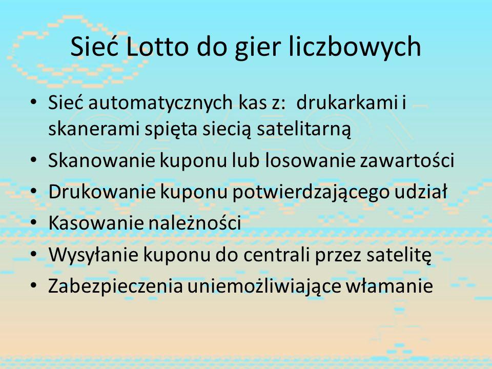 Sieć Lotto do gier liczbowych Sieć automatycznych kas z: drukarkami i skanerami spięta siecią satelitarną Skanowanie kuponu lub losowanie zawartości D