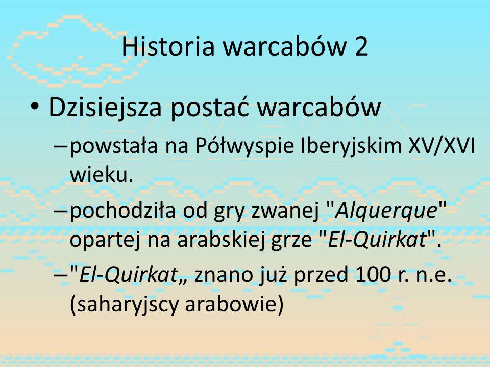 Historia warcabów 2 Dzisiejsza postać warcabów – powstała na Półwyspie Iberyjskim XV/XVI wieku. – pochodziła od gry zwanej