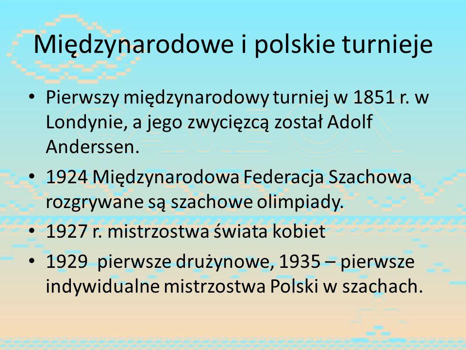 Międzynarodowe i polskie turnieje Pierwszy międzynarodowy turniej w 1851 r. w Londynie, a jego zwycięzcą został Adolf Anderssen. 1924 Międzynarodowa F
