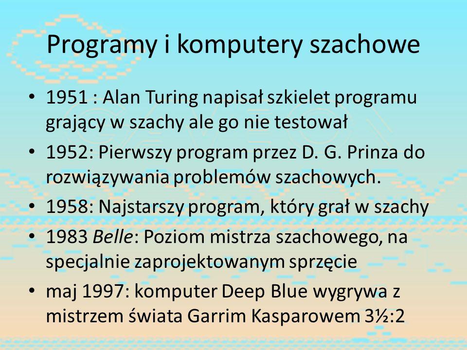 Programy i komputery szachowe 1951 : Alan Turing napisał szkielet programu grający w szachy ale go nie testował 1952: Pierwszy program przez D. G. Pri