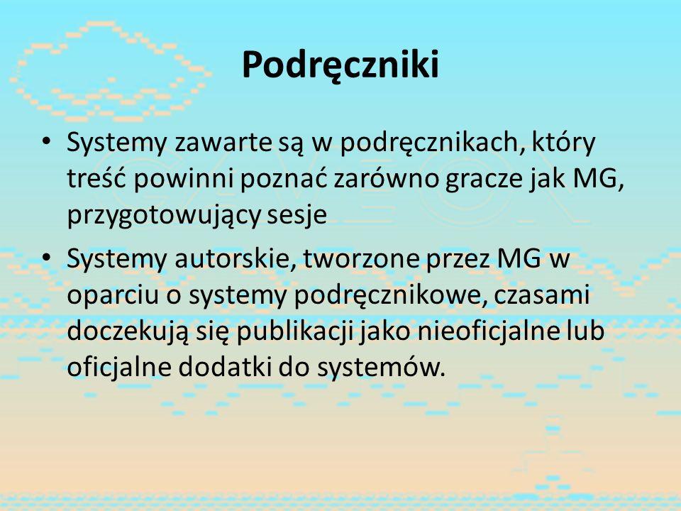 Podręczniki Systemy zawarte są w podręcznikach, który treść powinni poznać zarówno gracze jak MG, przygotowujący sesje Systemy autorskie, tworzone prz