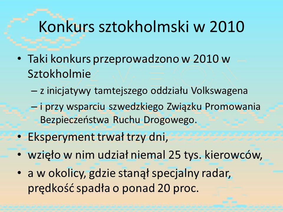 Konkurs sztokholmski w 2010 Taki konkurs przeprowadzono w 2010 w Sztokholmie – z inicjatywy tamtejszego oddziału Volkswagena – i przy wsparciu szwedzk