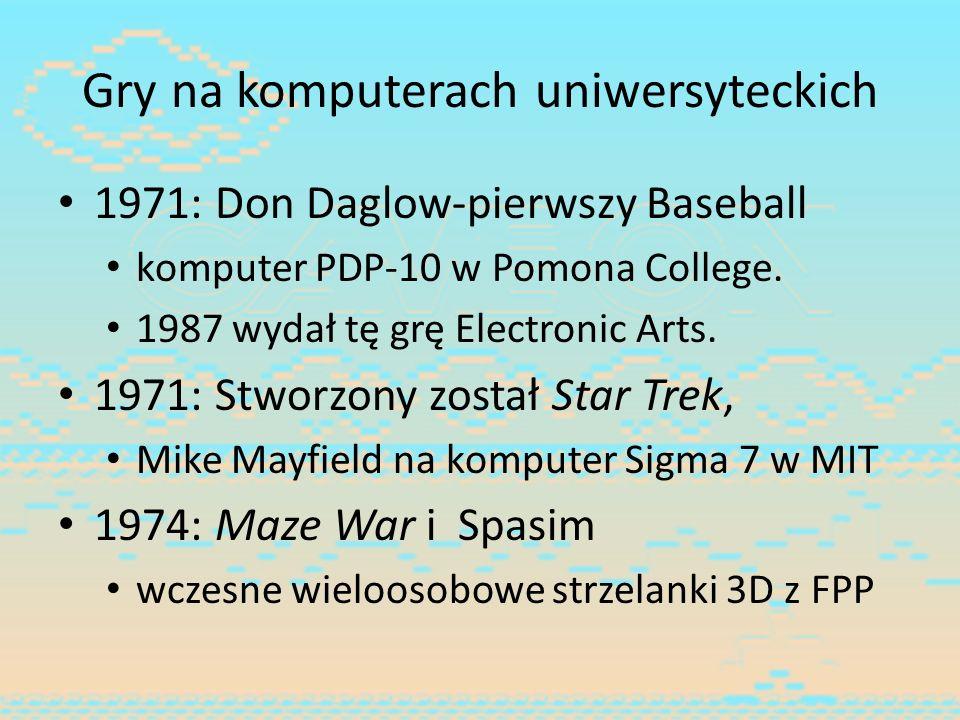 Gry na komputerach uniwersyteckich 1971: Don Daglow-pierwszy Baseball komputer PDP-10 w Pomona College. 1987 wydał tę grę Electronic Arts. 1971: Stwor