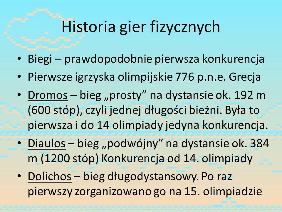 Historia gier fizycznych Biegi – prawdopodobnie pierwsza konkurencja Pierwsze igrzyska olimpijskie 776 p.n.e. Grecja Dromos – bieg prosty na dystansie