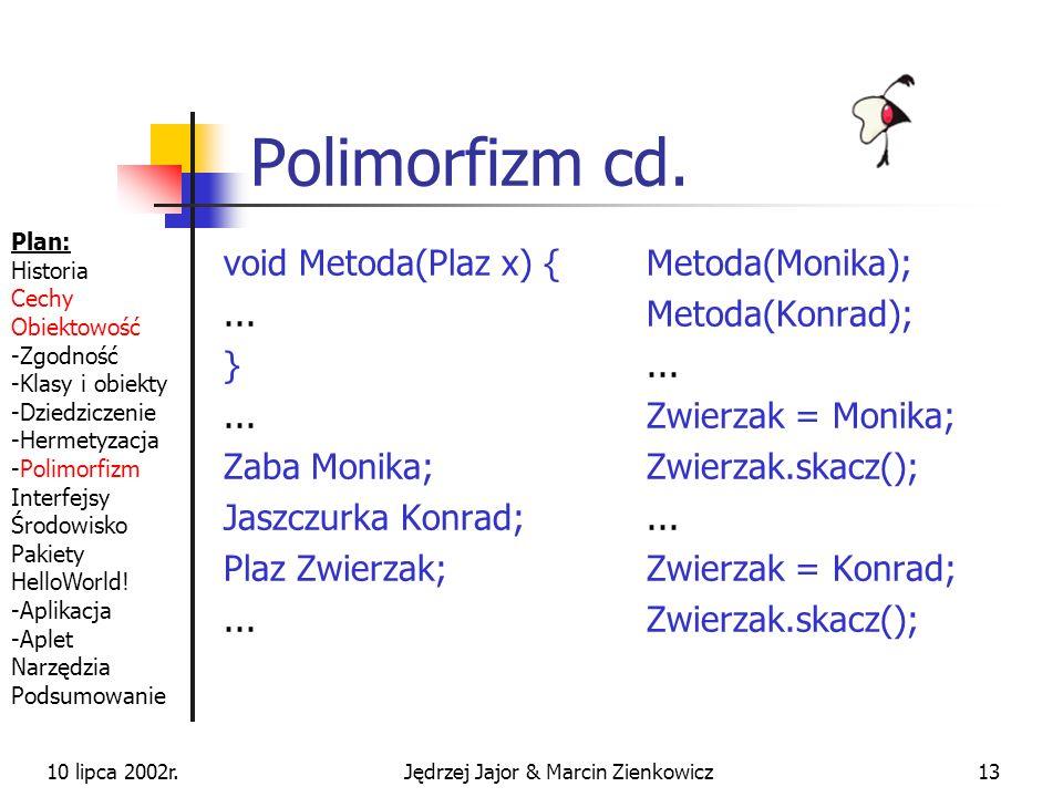 10 lipca 2002r.Jędrzej Jajor & Marcin Zienkowicz12 Polimorfizm wielopostaciowość wiele klas reprezentuje ten sam typ Plan: Historia Cechy Obiektowość