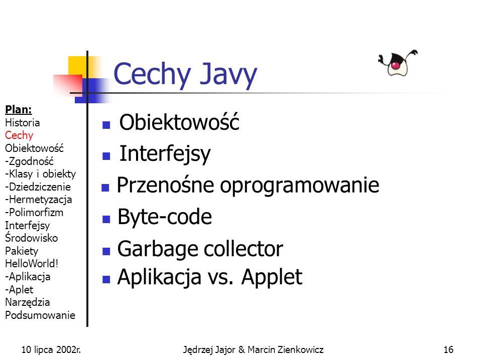 10 lipca 2002r.Jędrzej Jajor & Marcin Zienkowicz15 Interfejsy cd. interface Wytresowany {...} interface Jadowity {...} class Ropucha extends Plaz impl