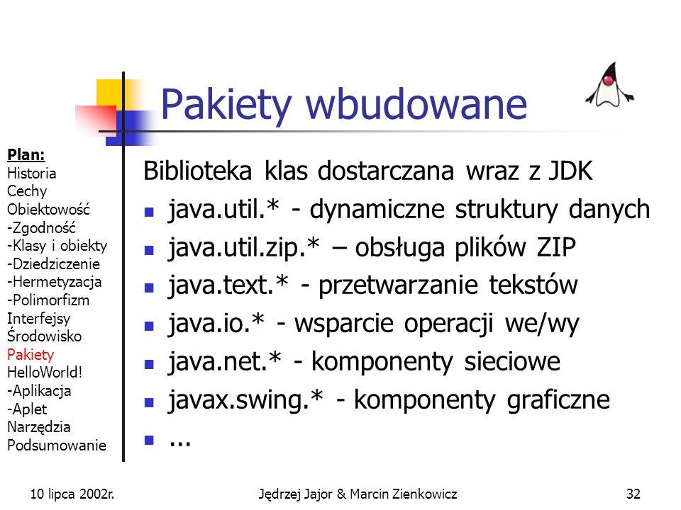 10 lipca 2002r.Jędrzej Jajor & Marcin Zienkowicz31 Pakiety cd. c:\ KlasyJavy jjmz zwierz Zaba.class Pies.class import jjmz.zwierz.Zaba; import jjmz.zw