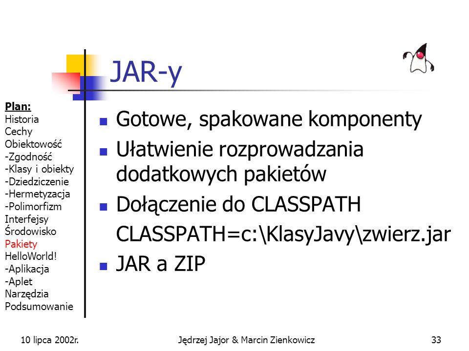10 lipca 2002r.Jędrzej Jajor & Marcin Zienkowicz32 Pakiety wbudowane Biblioteka klas dostarczana wraz z JDK java.util.* - dynamiczne struktury danych java.util.zip.* – obsługa plików ZIP java.text.* - przetwarzanie tekstów java.io.* - wsparcie operacji we/wy java.net.* - komponenty sieciowe javax.swing.* - komponenty graficzne...