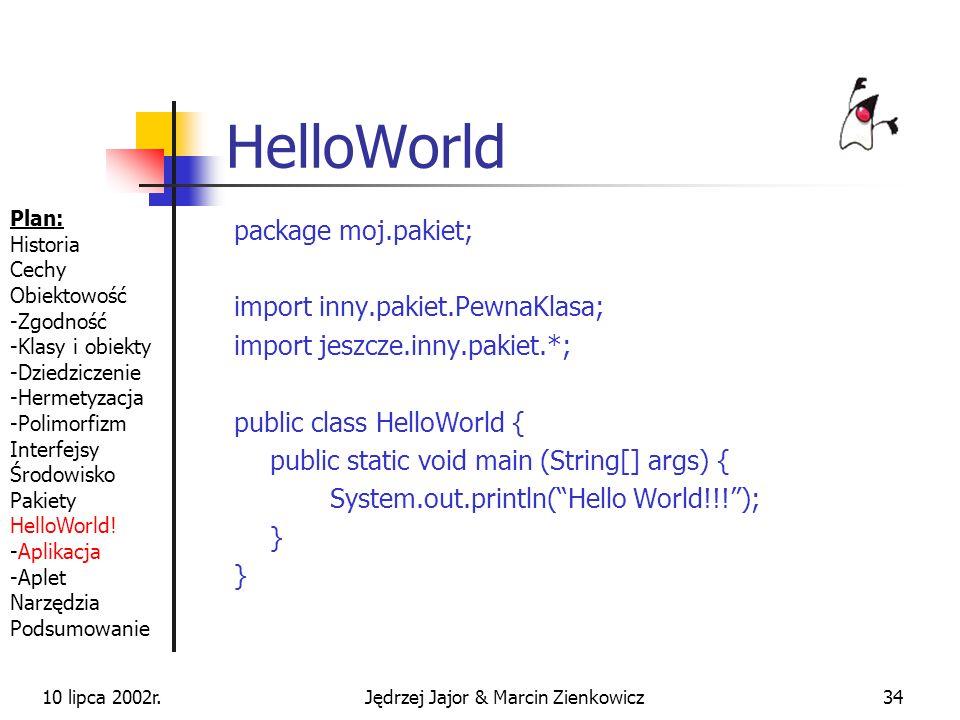 10 lipca 2002r.Jędrzej Jajor & Marcin Zienkowicz33 JAR-y Gotowe, spakowane komponenty Ułatwienie rozprowadzania dodatkowych pakietów Dołączenie do CLA