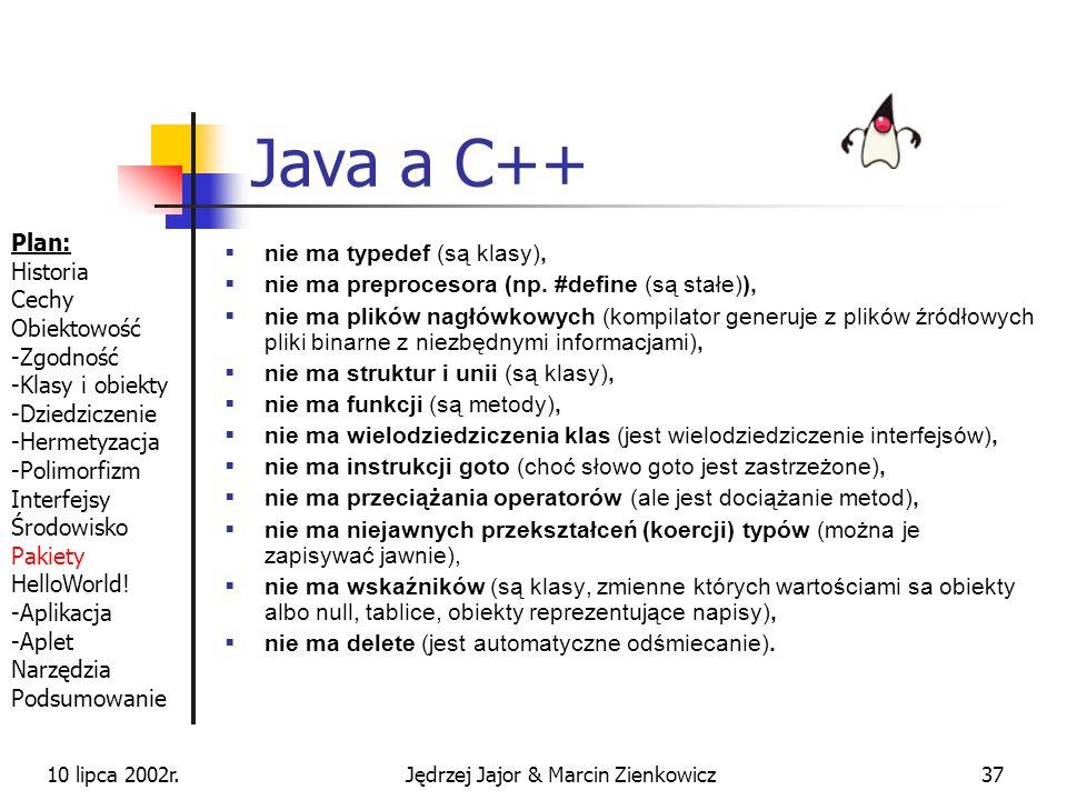 10 lipca 2002r.Jędrzej Jajor & Marcin Zienkowicz36 HelloWorld cd. Pakowanie do JAR jar cvf Hello.jar HelloWorld.class Dodawanie do CLASSPATH set class
