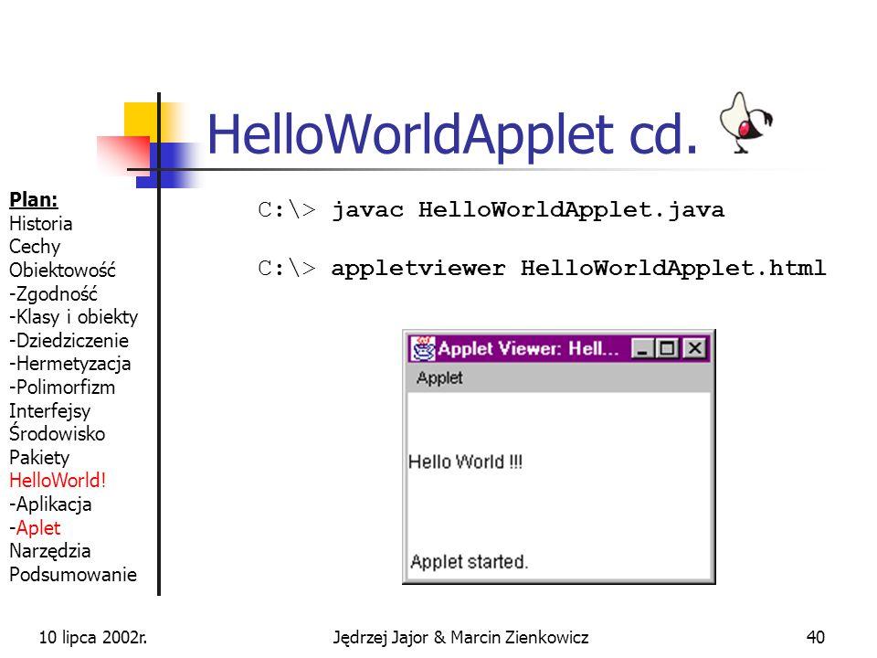 10 lipca 2002r.Jędrzej Jajor & Marcin Zienkowicz39 HelloWorldApplet cd.