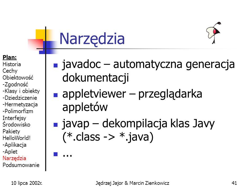 10 lipca 2002r.Jędrzej Jajor & Marcin Zienkowicz40 HelloWorldApplet cd.