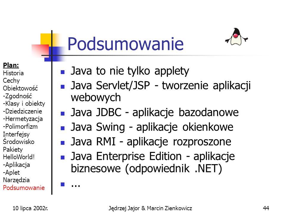 10 lipca 2002r.Jędrzej Jajor & Marcin Zienkowicz43 brak możliwości przeciążenia operatorów brak klas parametryzowanych (templates) Plan: Historia Cech