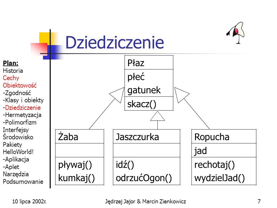 10 lipca 2002r.Jędrzej Jajor & Marcin Zienkowicz27 Tablice Tablice są obiektami specjalnego typu Indeksy są liczone od 0 i są sprawdzane Bardzo ważne pseudopole length tablice różnych typów są od siebie różne int mojaTablica[ ] = null; mojaTablica = new int[5]; int mojaTablica2[ ] = {1, 4, 9, 16, 25}; String jezyki [ ] = { Prolog , Java }; Plan: Historia Cechy Obiektowość -Zgodność -Klasy i obiekty -Dziedziczenie -Hermetyzacja -Polimorfizm Interfejsy Środowisko Pakiety HelloWorld.