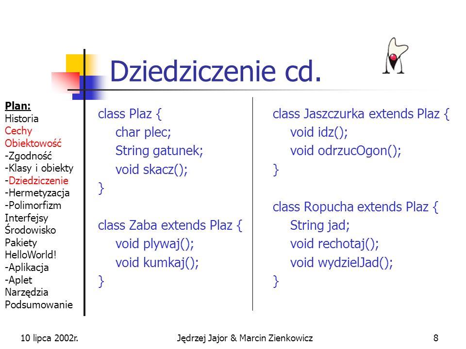 10 lipca 2002r.Jędrzej Jajor & Marcin Zienkowicz8 Dziedziczenie cd.