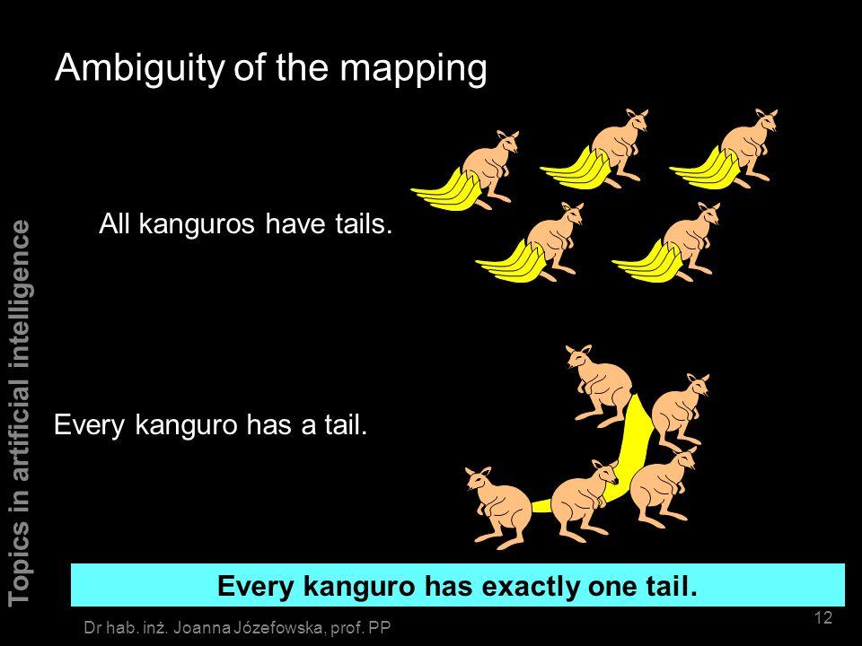 Topics in artificial intelligence 11 Dr hab. inż. Joanna Józefowska, prof. PP Spot hastail(spot) kanguro(X) => hastail(X) kanguro(spot) X/spot Modus p